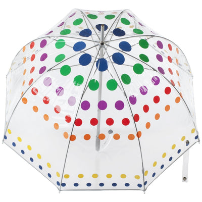 Signature Manual Clear Bubble Umbrella in Primary Dots Open Top View
