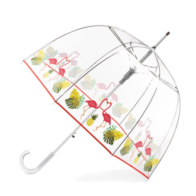 Signature Auto Open Bubble Umbrella in Flamingo Bubble Open Side Profile