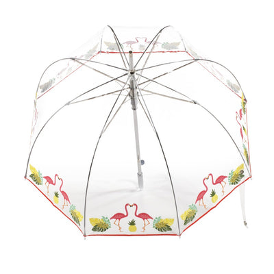 Signature Auto Open Bubble Umbrella in Flamingo Bubble Open Top View