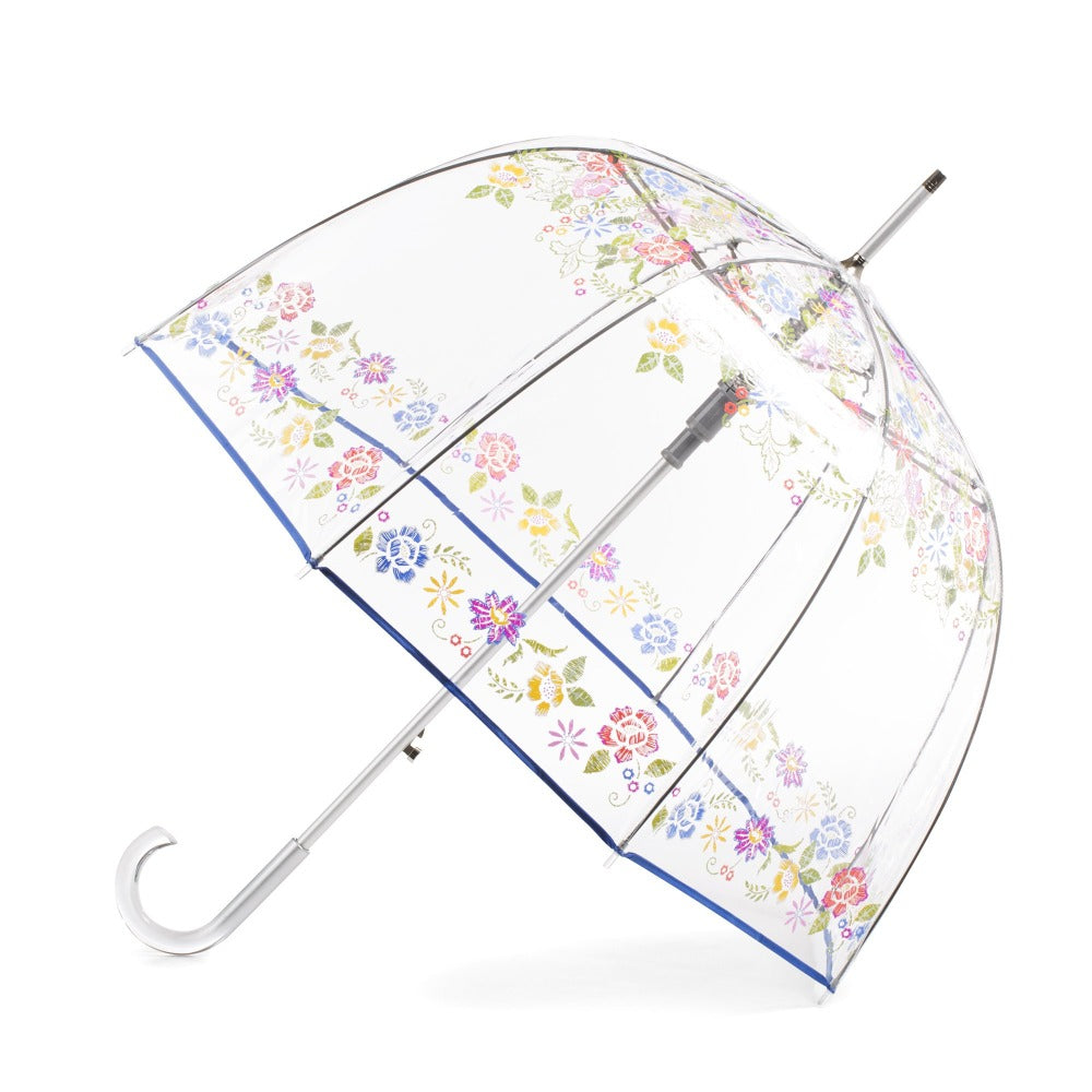 Signature Auto Open Bubble Umbrella in Embroidered Floral Bubble Open Side Profile