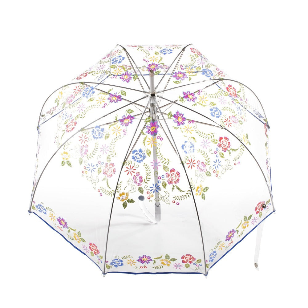 Signature Auto Open Bubble Umbrella in Embroidered Floral Bubble Open Top View