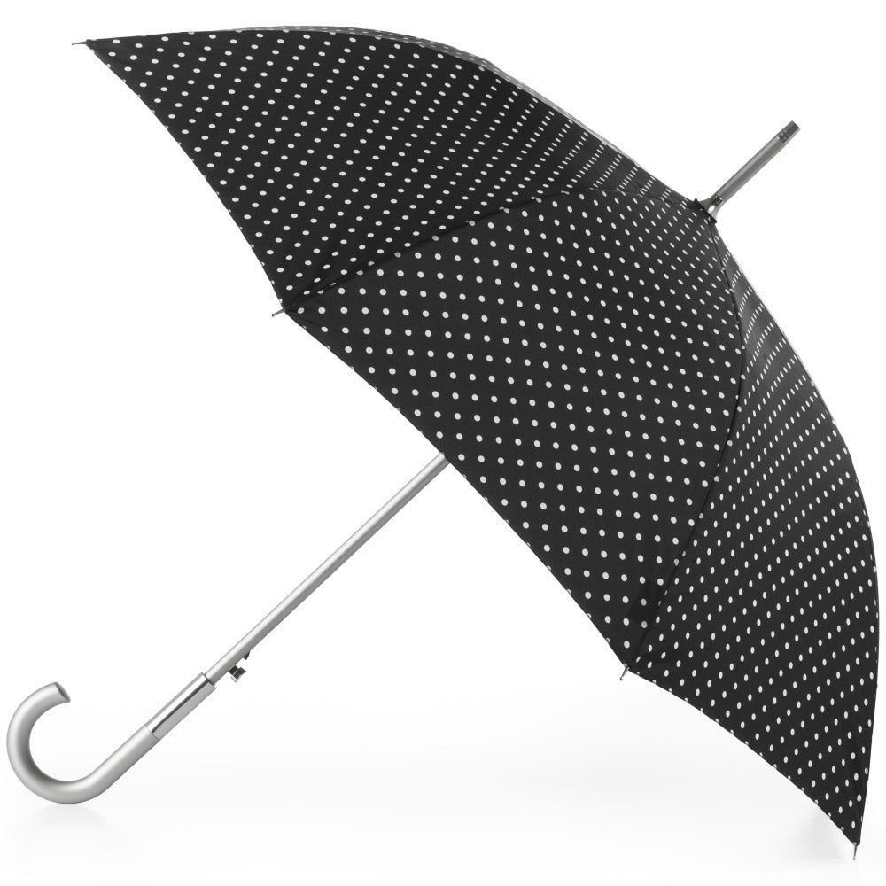 Signature Auto Open Stick Neverwet Umbrella in Black/White Swiss Dot Open Side Profile