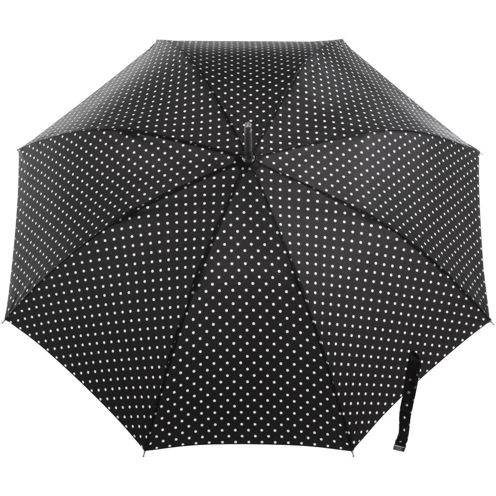 Signature Auto Open Stick Neverwet Umbrella in Black/White Swiss Dot Open Top View