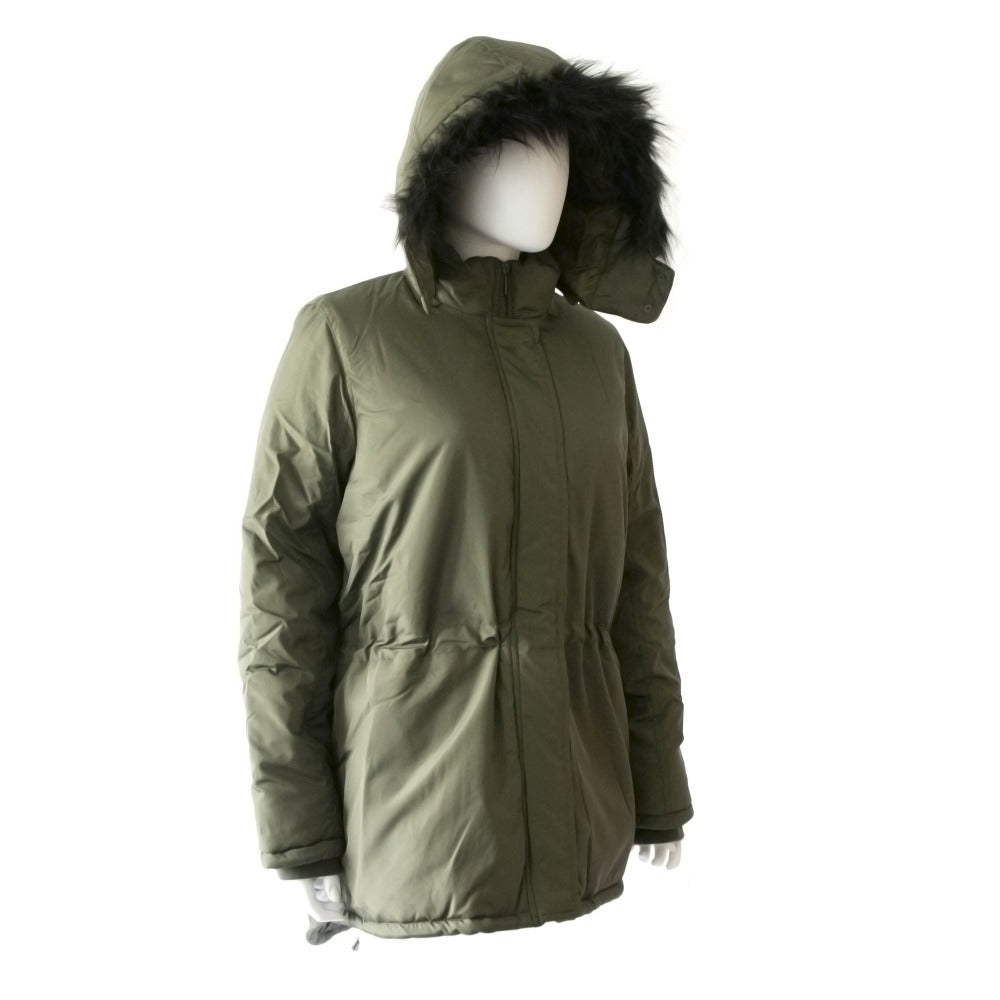 Women's Anorak with Drawstring Waist in Olive Right Angled View with Faux Fur Hood Up