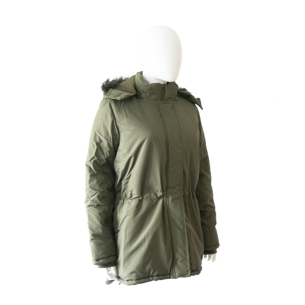 Women's Anorak with Drawstring Waist in Olive Right Angled View with Faux Fur Hood Down