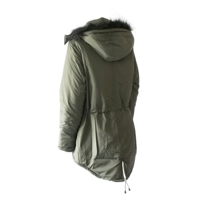 Women's Anorak with Drawstring Waist in Olive Back View