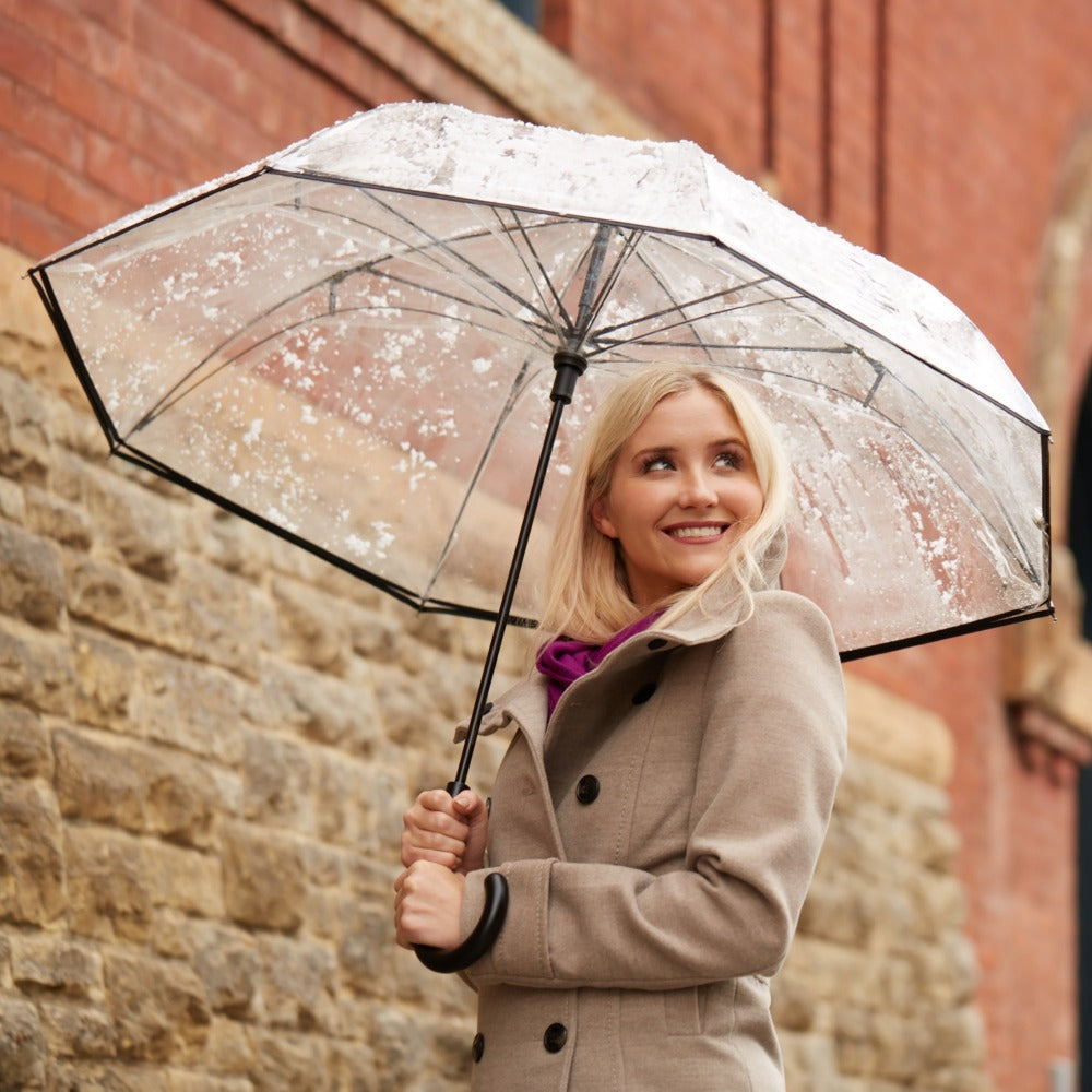InBrella Reverse Close Umbrella in Clear Lifestyle Shot in the Rain