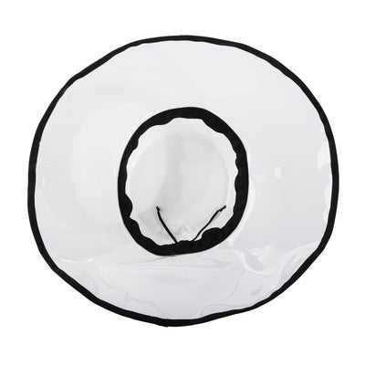 Women's Clear Wide Brimmed Rain Hat Inside View