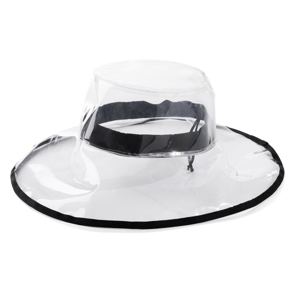 Women's Clear Wide Brimmed Rain Hat Left Angled View