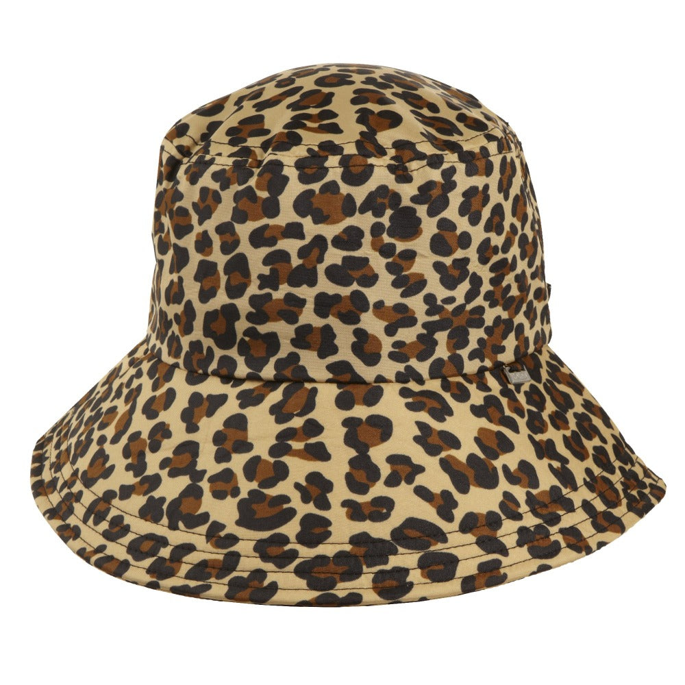 Women's Bow Rain Hat in Leopard Front