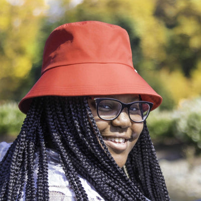 Women's Bow Rain Hat in Red On Model