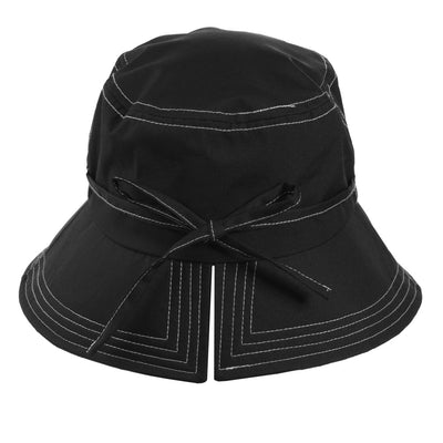 Women's Bow Rain Hat in Black Back