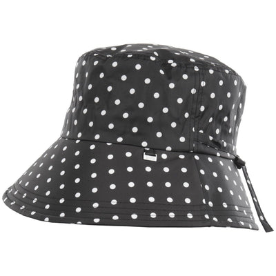 Women's Bow Rain Hat in Black/White Swiss Dot Side Profile