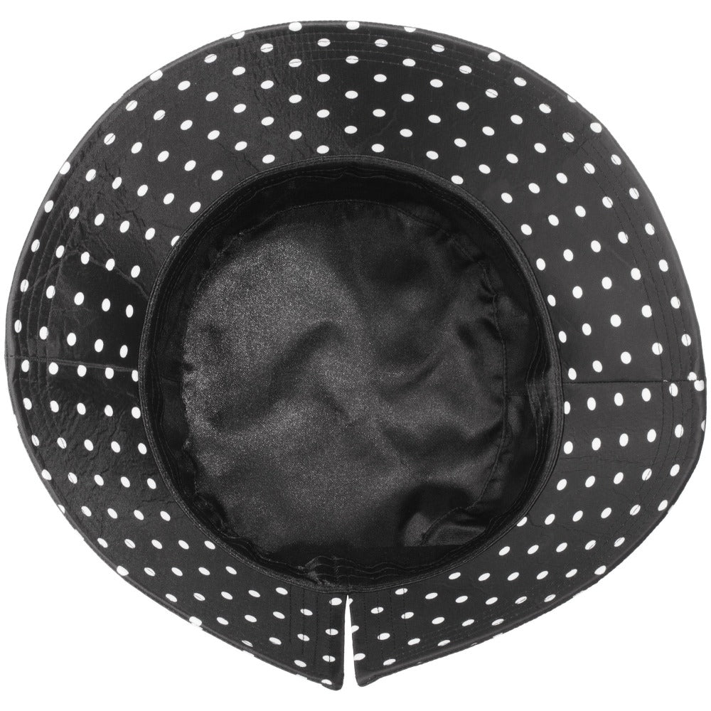 Women's Bow Rain Hat in Black/White Swiss Dot Inside View