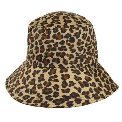 Women's Bow Rain Hat in Leopard Spotted Front