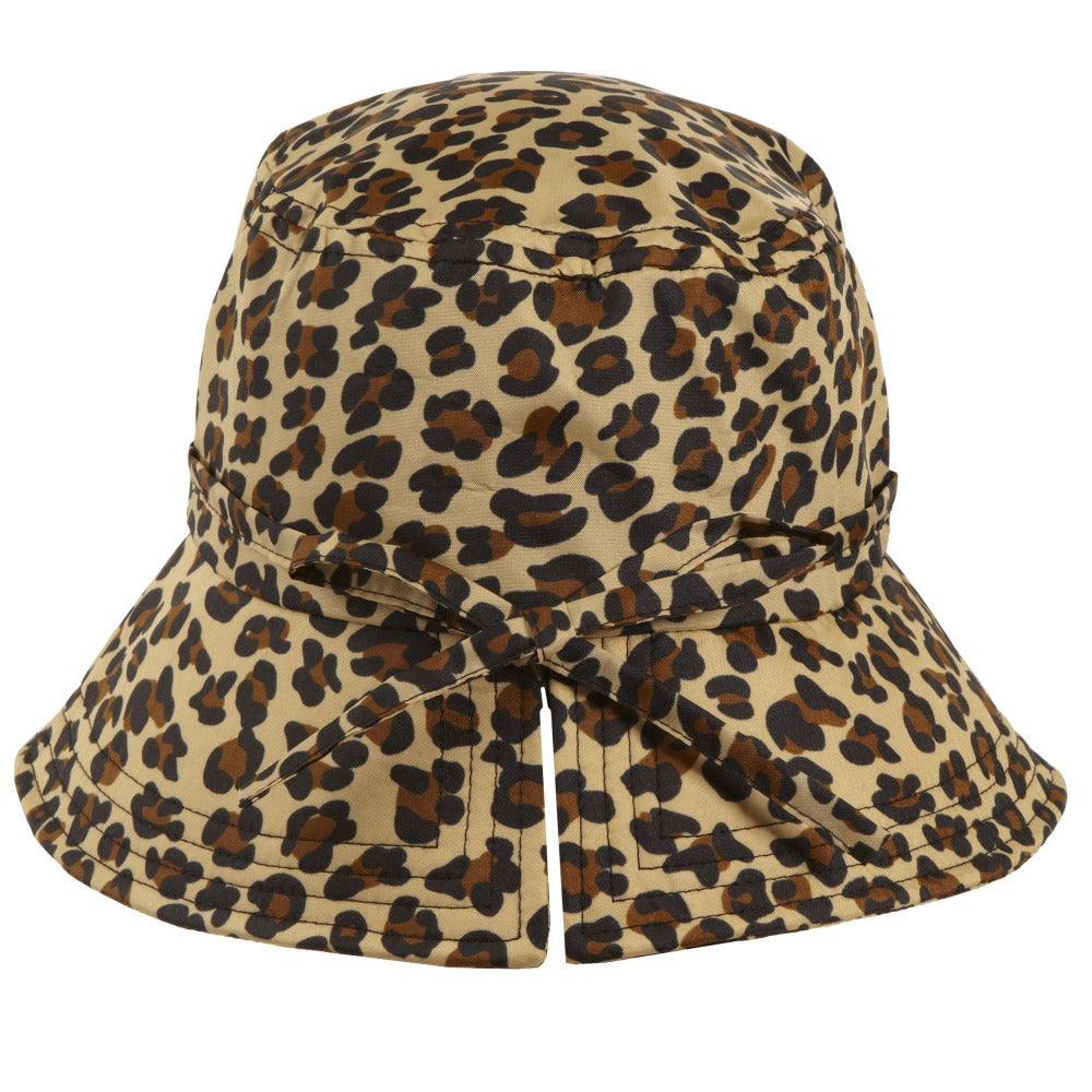 Women's Bow Rain Hat in Leopard Spotted Back