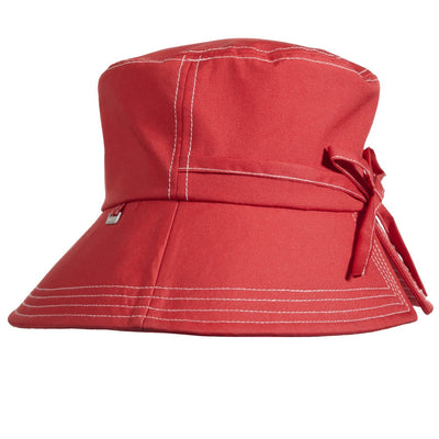 Women's Bow Rain Hat in Red Side Profile