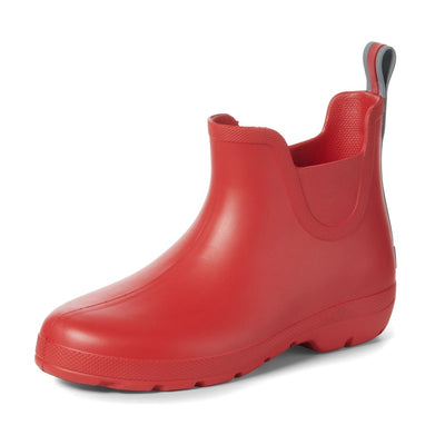 Cirrus™ Women's Chelsea Ankle Rain Boots in Red Left Angled View