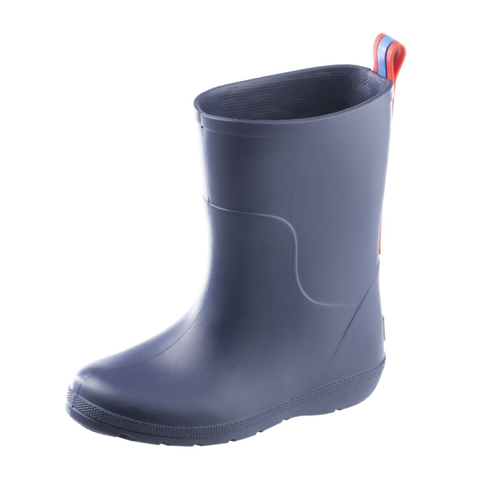 Cirrus™ Toddler's Charley Tall Rain Boot in Navy Blue with Red on Contrasting Stripe Left Angled View
