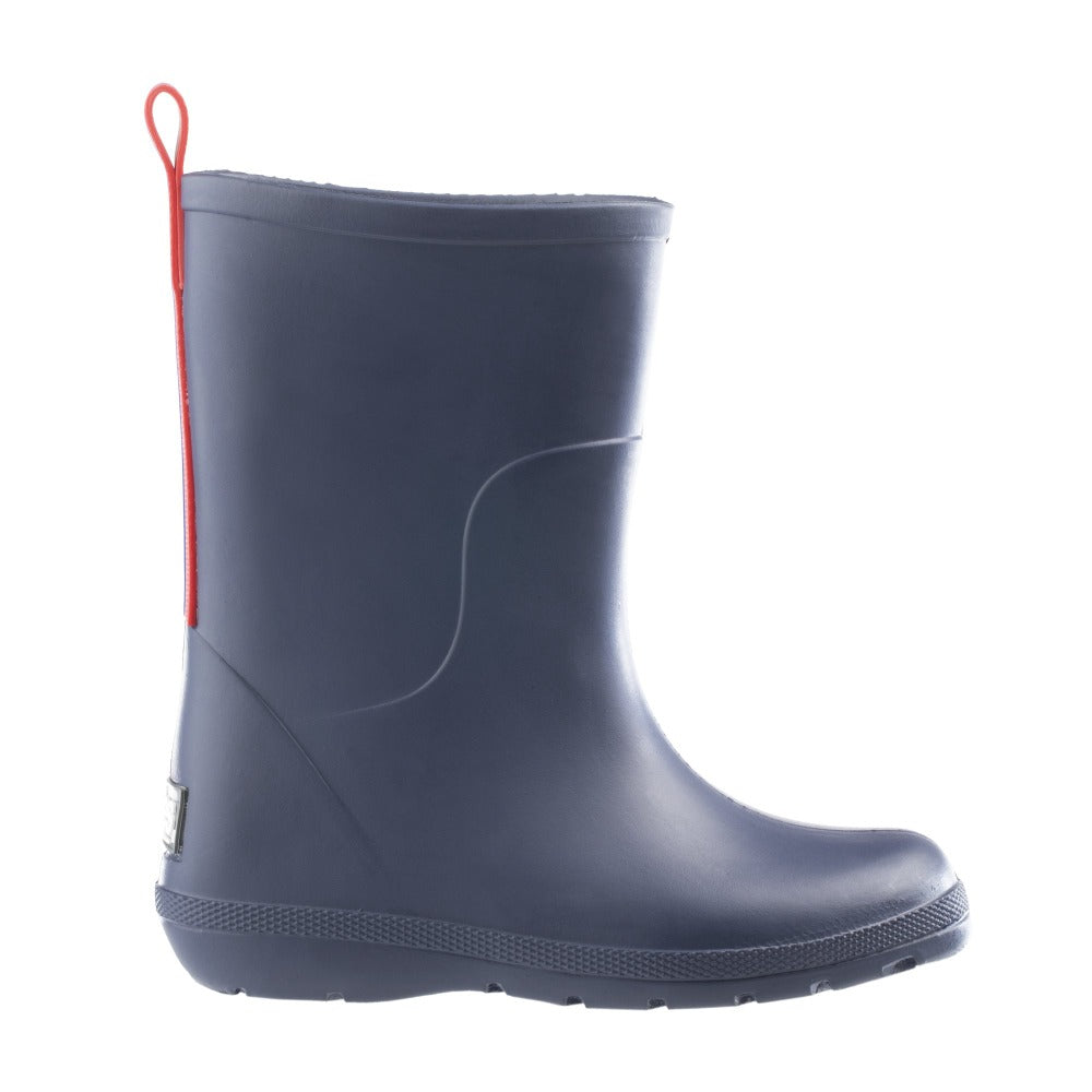 Cirrus™ Toddler's Charley Tall Rain Boot in Navy Blue with Red on Contrasting Stripe Profile