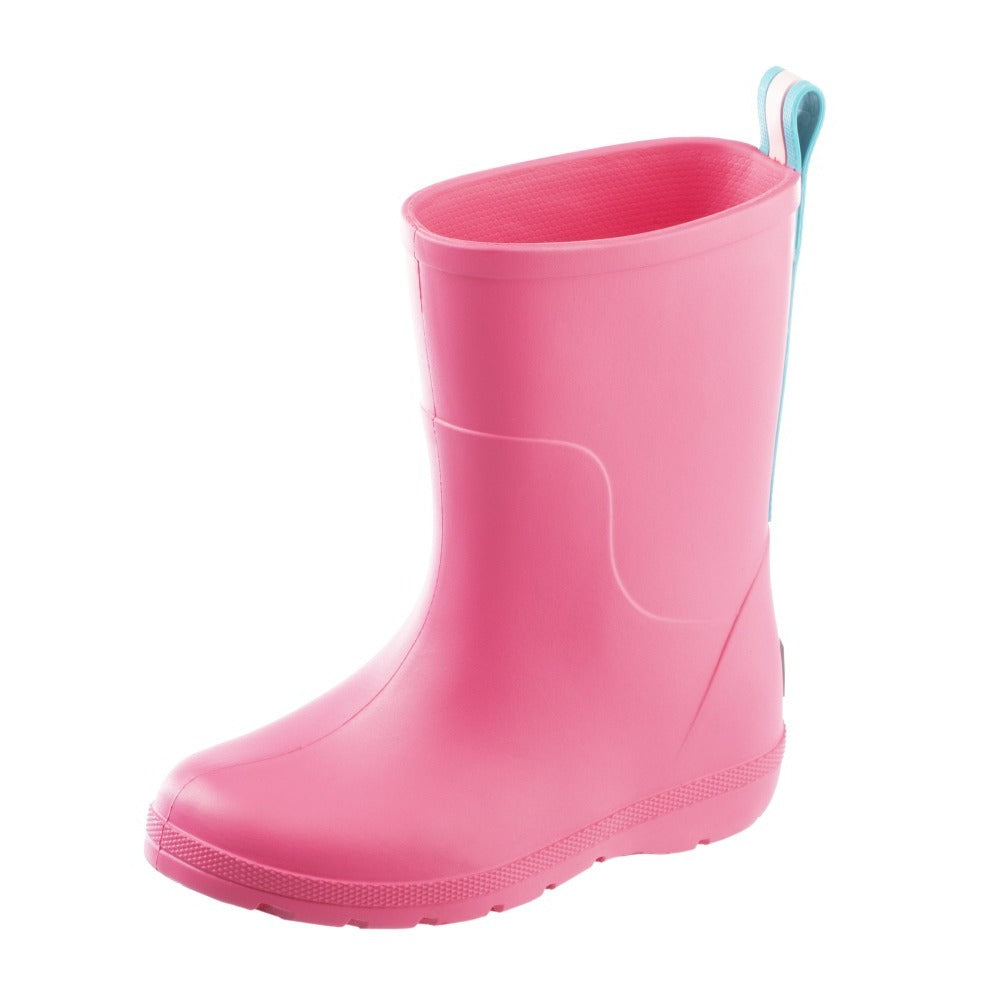 Cirrus™ Toddler's Charley Tall Rain Boot in Pink with Light Blue Contrasting Stripe Left Angled View