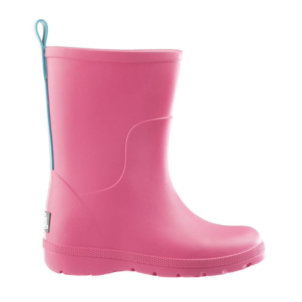 Cirrus™ Toddler's Charley Tall Rain Boot in Pink with Light Blue Contrasting Stripe Profile