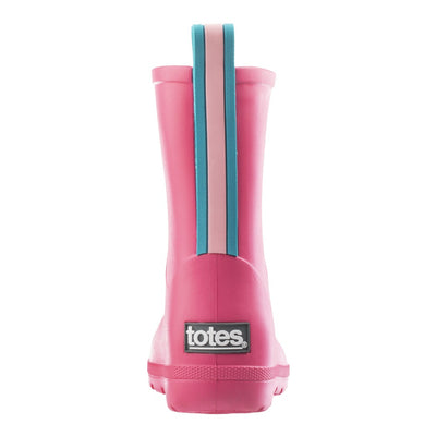 Cirrus™ Toddler's Charley Tall Rain Boot in Pink with Light Blue Contrasting Stripe Back Heel