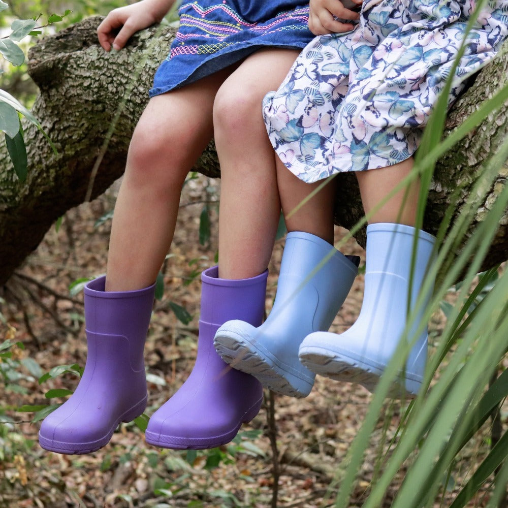 Cirrus™ Kid's Charley Tall Rain Boot in Paisley Purple and Bonnie Blue On Models in the Woods