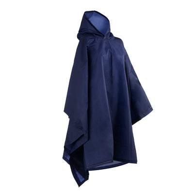 Unisex Rain Poncho in Navy Side Profile