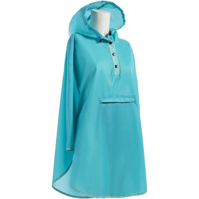 Women's Rain Poncho in Blue Floral Right Angled View