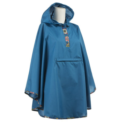 Women's Rain Poncho in Floral Medallion Right Angled View