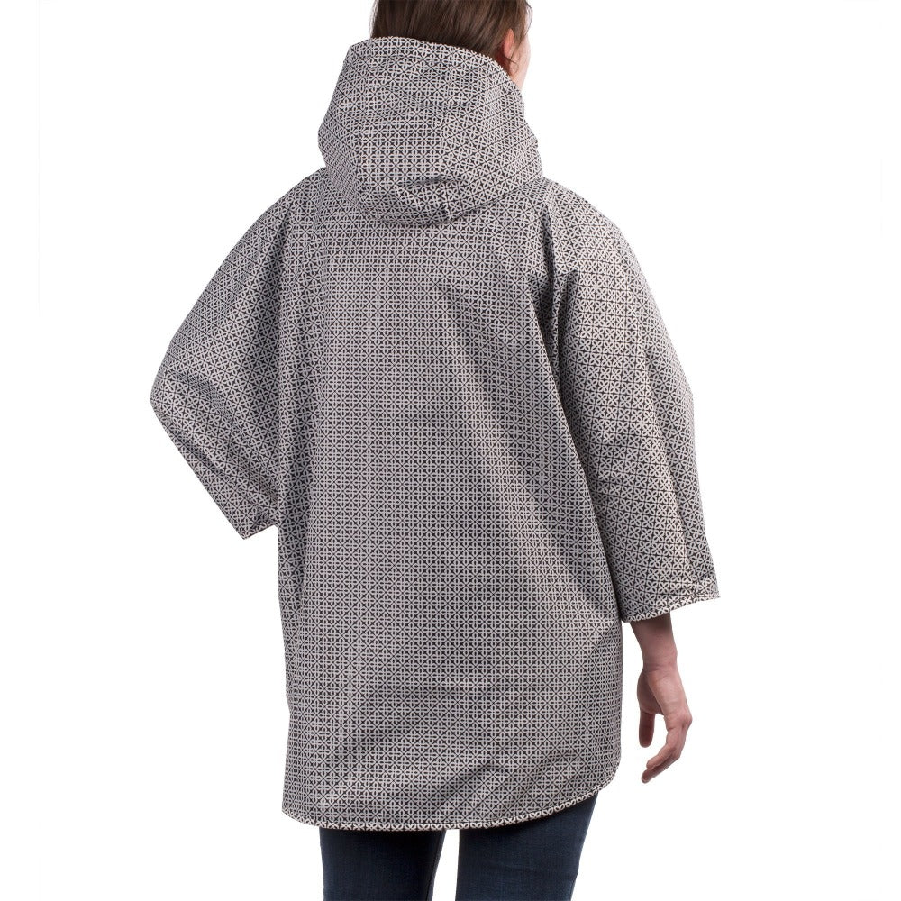 Reversible Rain Poncho in Black Reversed on Model Back