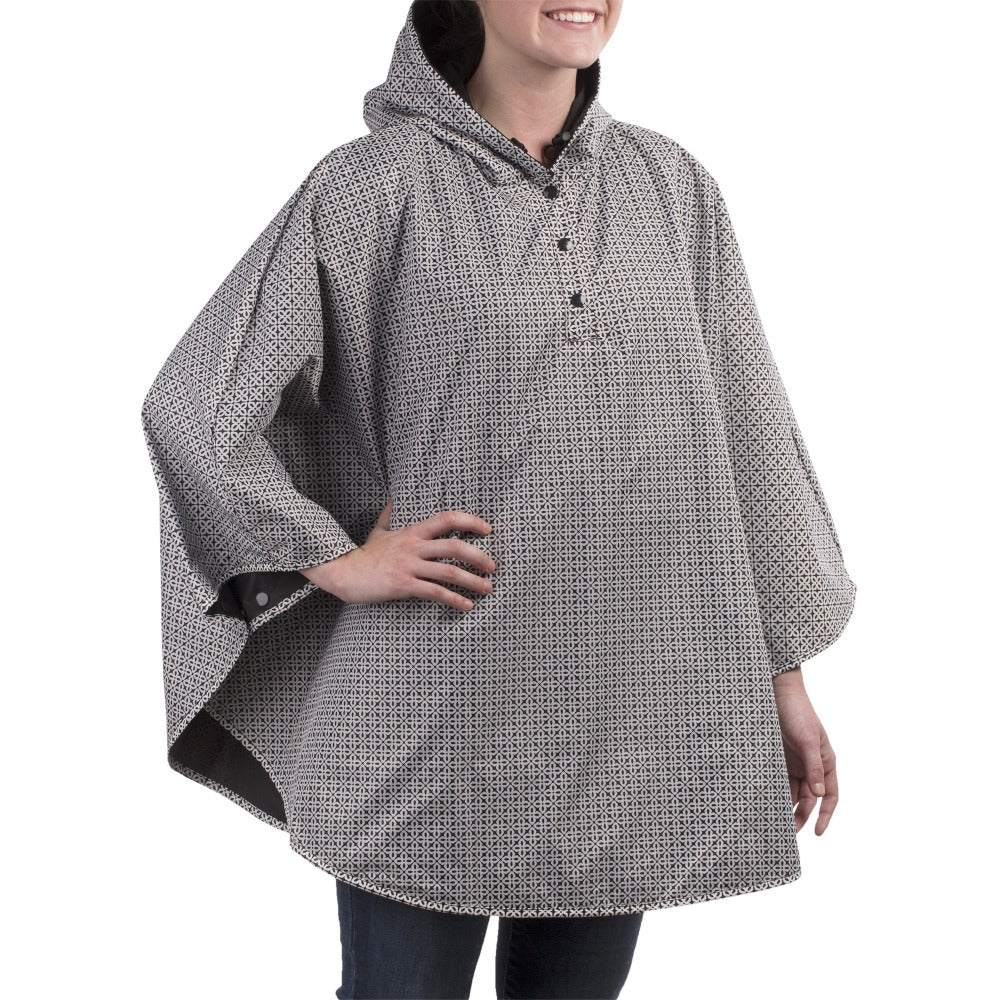Reversible Rain Poncho in Black Reversed on Model Right Angled Side View