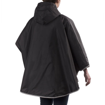 Reversible Rain Poncho in Black on Model Back
