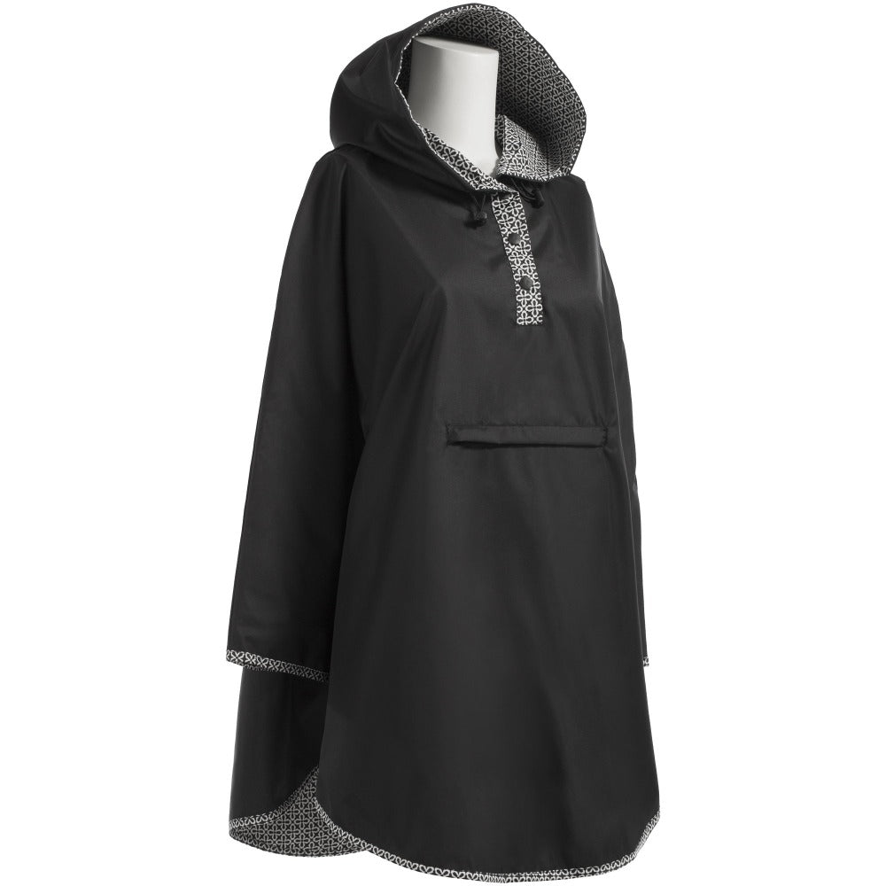 Reversible Rain Poncho in Black Right Angled Side View