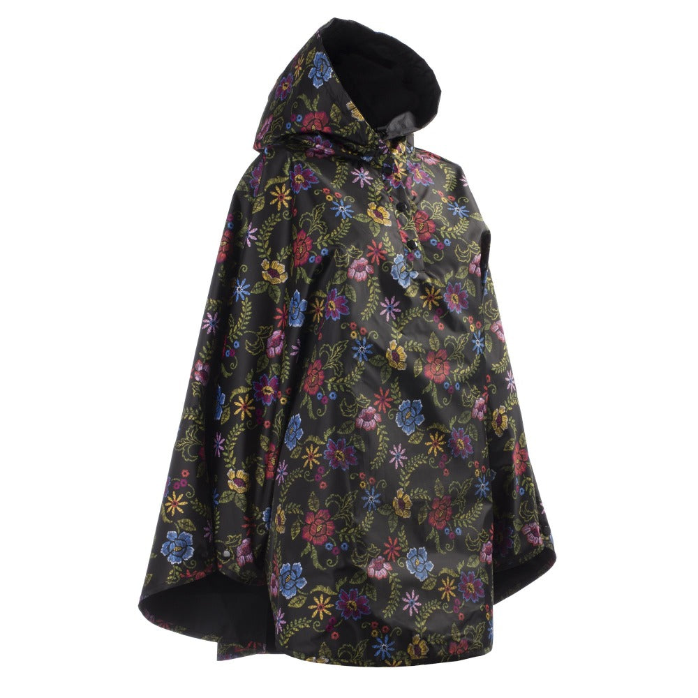 Reversible Rain Poncho in Embroidered Floral Reversed Right Angled Side View