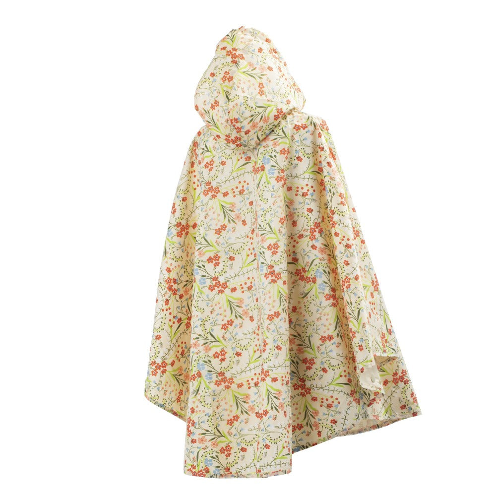 Reversible Rain Poncho in Wild Flowers Back