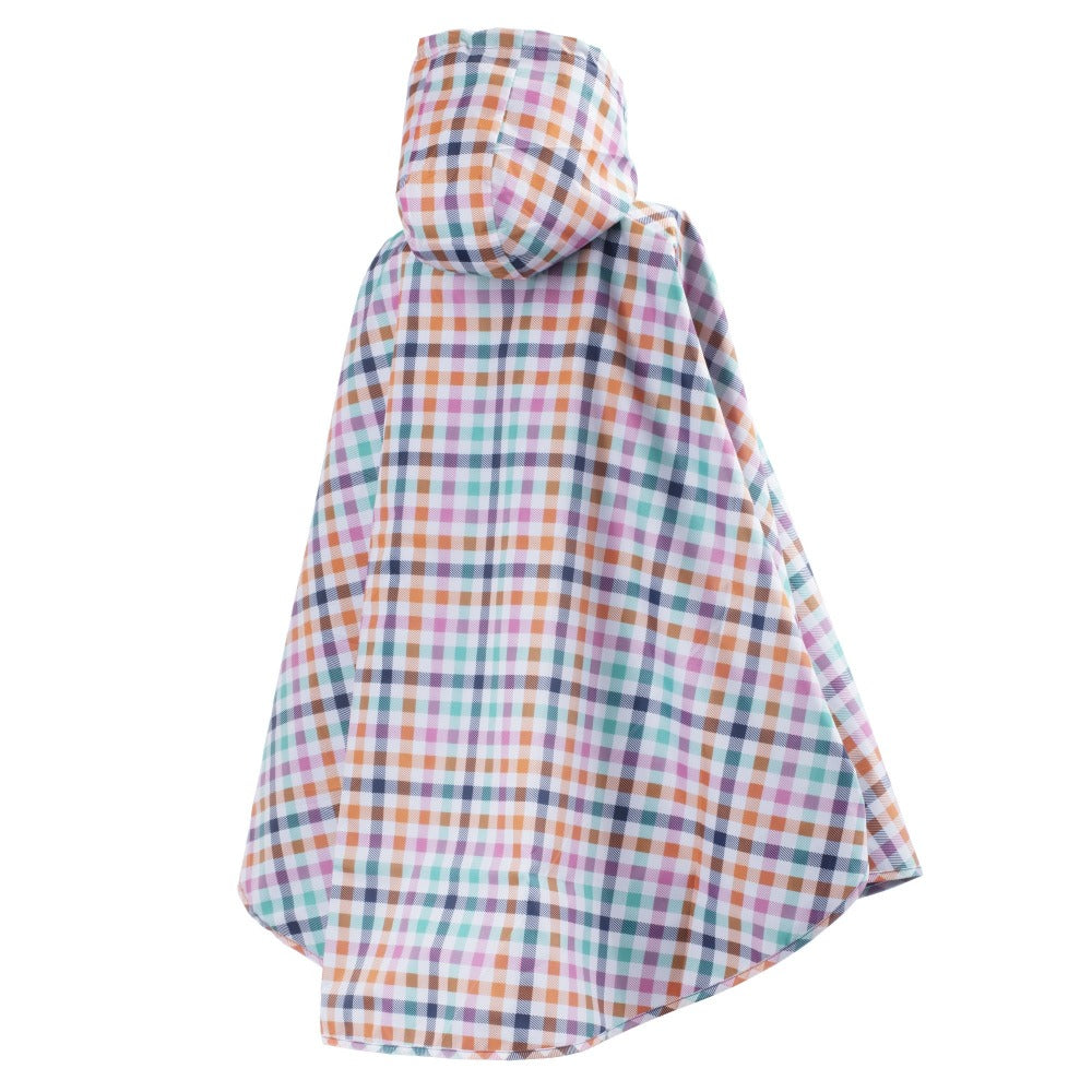 Reversible Rain Poncho in Rainbow Gingham Reversed Back