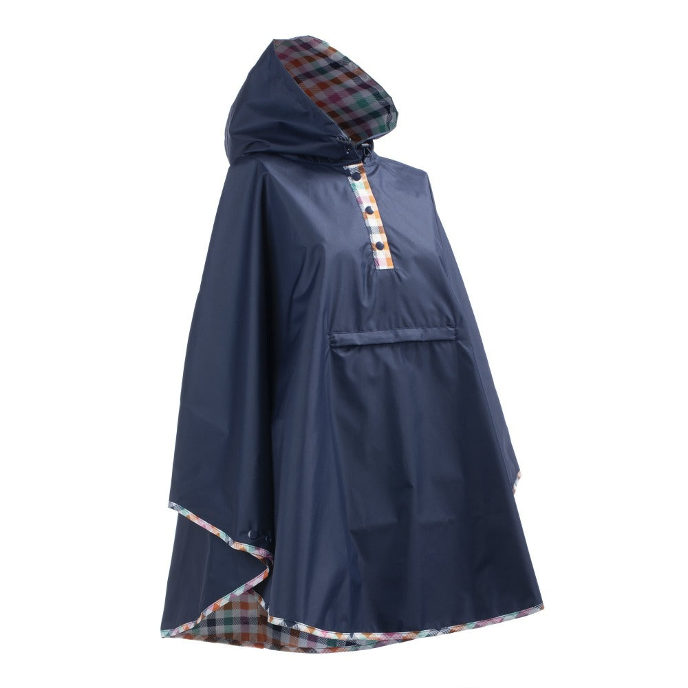 Reversible Rain Poncho in Rainbow Gingham Right Angled Side View
