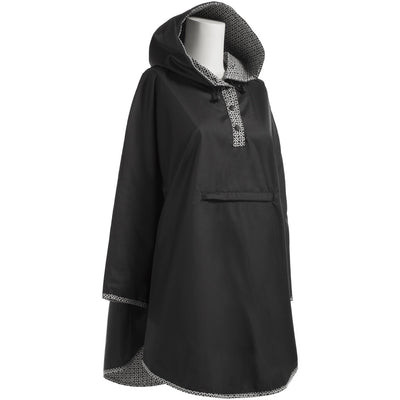 Reversible Fashion Rain Poncho in Black Right Angled View