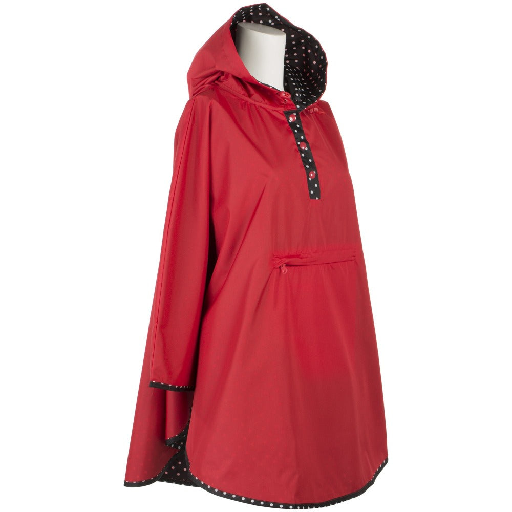 Reversible Fashion Rain Poncho in Red Right Angled View