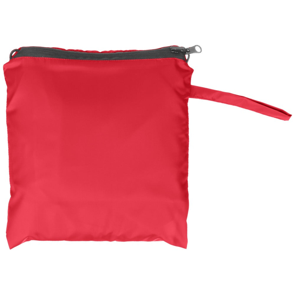 Reversible Fashion Rain Poncho in Red Closed in Carrying Pouch