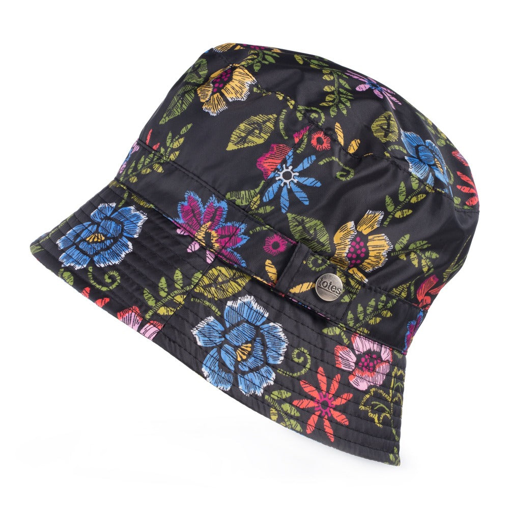 Bucket Rain Hat in Embroidered Floral Side Profile