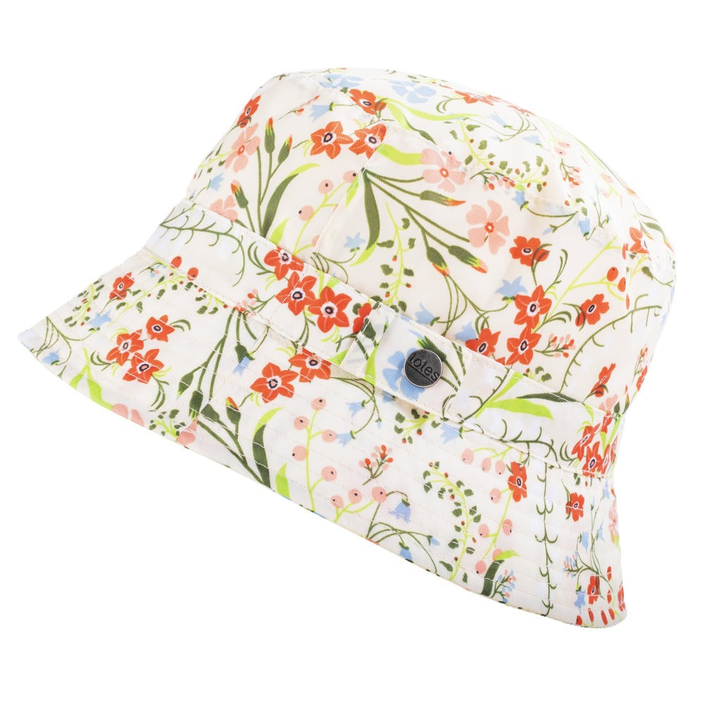 Bucket Rain Hat in Wild Flowers Side Profile