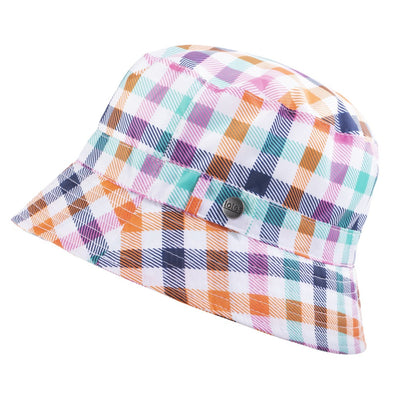 Bucket Rain Hat in Rainbow Gingham Side Profile