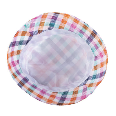 Bucket Rain Hat in Rainbow Gingham Inside