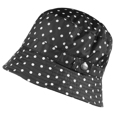 black totes rain hat with white dots