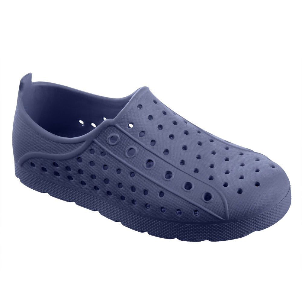 Kid's Sol Bounce Splash & Play Eyelet Sneaker in Navy Blue Right Angled View