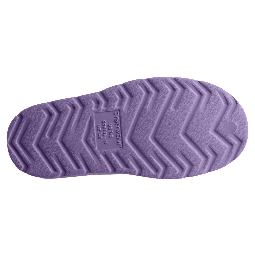 Kid's Sol Bounce Splash & Play Eyelet Sneaker in Paisley Purple Bottom Sole Tread