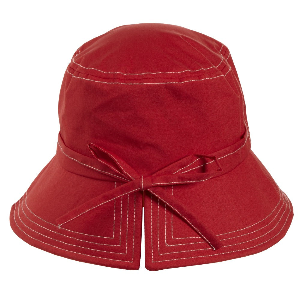 Women's Bow Rain Hat in Red Back